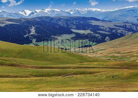 Mountain Road On The Plateau Of Assy. Kazakhstan, Almaty Region.