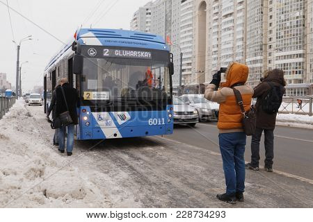 SAINT-PETERSBURG, RUSSIA - FEBRUARY 12, 2018: Trolleybus on line 2 at Utochkina street. This new bus pass a half of his route using autonomous power supply