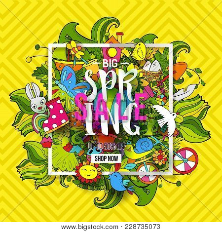 Cartoon Hand Drawn Doodle Big Spring Sale Art. For Banners, Posters, Flyers, Cards, Invitations. Vec