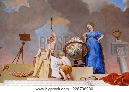 AMORBACH, GERMANY - JULY 08: Fresco painting on the ceiling of the Library in Amorbach Benedictine abbey in Lower Franconia, Bavaria, Germany on July 08, 2017.
