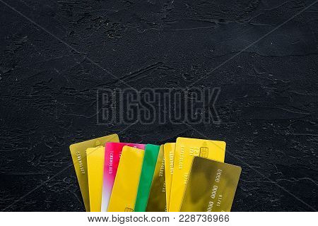 Bank Card Concept. Debit Card, Credit Card. Black Background Top View.