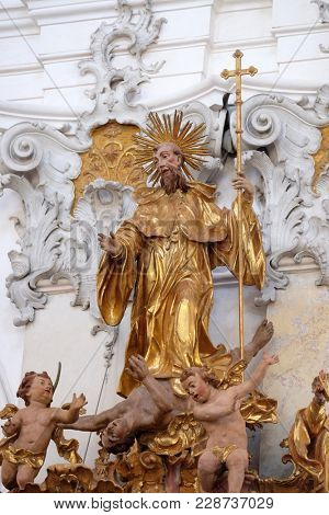 AMORBACH, GERMANY - JULY 08: Saint Benedict statue on pulpit in Amorbach Benedictine monastery church in the district of Miltenberg in Lower Franconia in Bavaria, Germany on July 08, 2017.