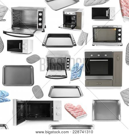 Set of different ovens and kitchenware on white background