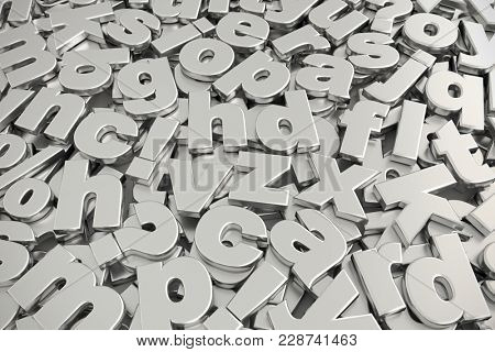 3D rendering of pile of gray metallic lower case alphabet fonts shot from above