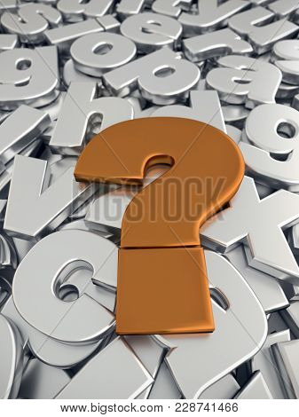 3D rendering of Question Mark sign in metallic copper color on pile of gray metallic alphabet fonts