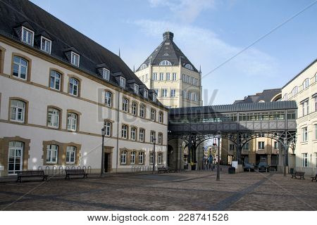 LUXEMBOURG CITY, LUXEMBOURG - JANUARY 21, 2018: A view of the Cite Judiciaire, the Judiciary City of Luxembourg City, on the Holy Spirit Plateau