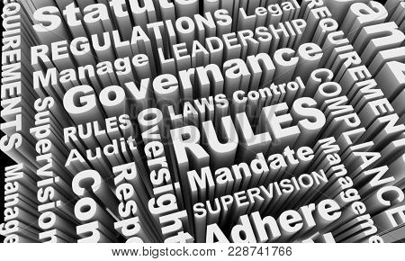 Rules Compliance Governance Regulations Laws Word Collage 3d Illustration