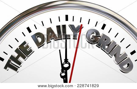 The Daily Grind Clock Time Boring Routines 3d Illustration
