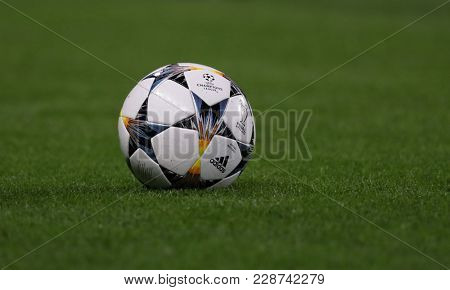 LONDON, ENGLAND - FEBRUARY 20: A match day ball  during the Champions League Round of 16 First Leg match between Chelsea FC and FC Barcelona at Stamford Bridge on February 20, 2018