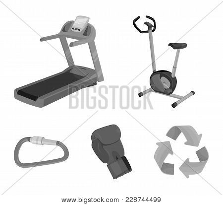 Exercise Bike, Treadmill, Glove Boxer, Lock. Sport Set Collection Icons In Monochrome Style Vector S