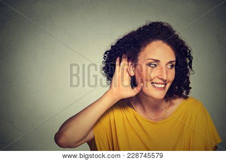 Closeup Portrait Happy Middle Aged Nosy Woman Hand To Ear Gesture Carefully Secretly Listening Juicy
