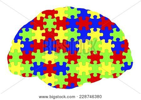 Autism Awareness And Autistic Disorders Concept, 3d Illustration. Human Brain And Jigsaw Puzzles