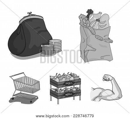 Sausages, Fruit, Cart .supermarket Set Collection Icons In Monochrome Style Vector Symbol Stock Illu