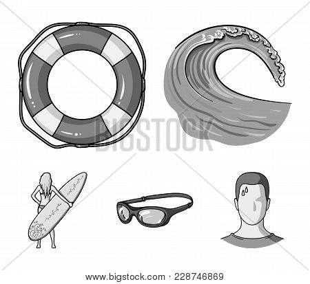 Oncoming Wave, Life Ring, Goggles, Girl Surfing. Surfing Set Collection Icons In Monochrome Style Ve