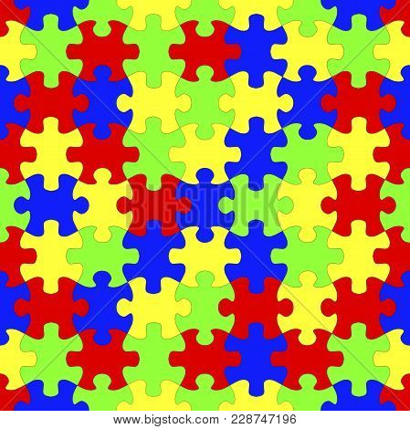 Seamless Colorful Jigsaw Puzzles Background, 3d Illustration