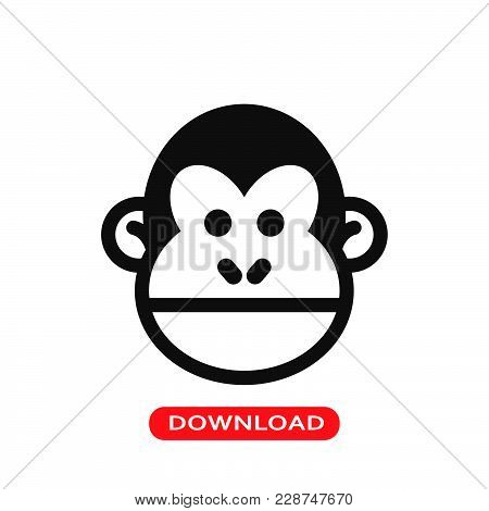 Chimp Face Icon Vector In Modern Flat Style For Web, Graphic And Mobile Design. Chimp Face Icon Vect
