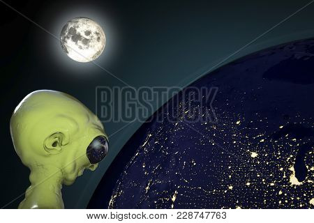 Extraterrestrial Humanoid Creature Looking At The Earth From Space, Alien Character Lit By Moon Ligh