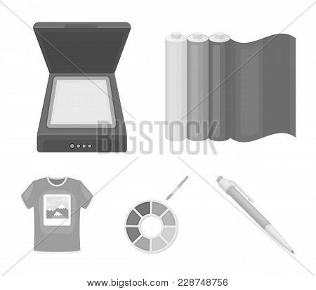 Scanner, Color Palette And Other Equipment. Typography Set Collection Icons In Monochrome Style Vect
