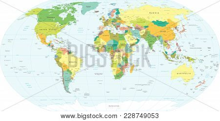 World Map - Highly Detailed Vector Illustration. Geographical Locations