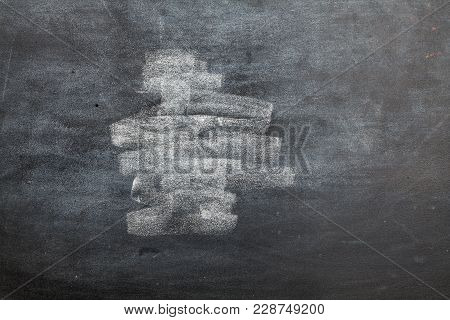 Empty Blackboard Wooden Framed Soiled With Dust Of Chalk Rubbed And A Broken Chalk - Suitable For Co