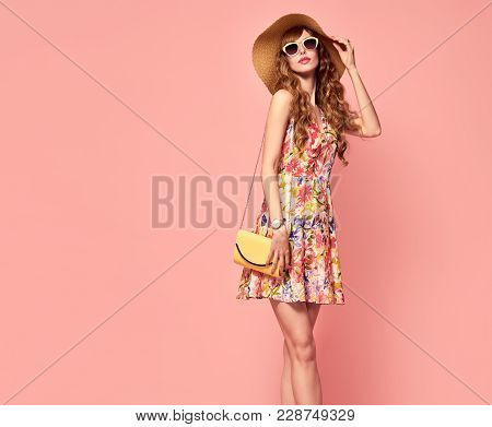 Fashionable Female Model With Wavy Hairstyle In Trendy Sunglasses. Fashion Young Beautiful European