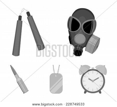 Gas Mask, Nunchak, Ammunition, Soldier's Token. Weapons Set Collection Icons In Monochrome Style Vec