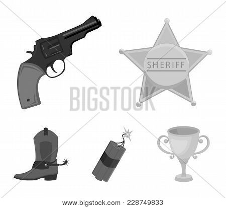 Star Sheriff, Colt, Dynamite, Cowboy Boot. Wild West Set Collection Icons In Monochrome Style Vector