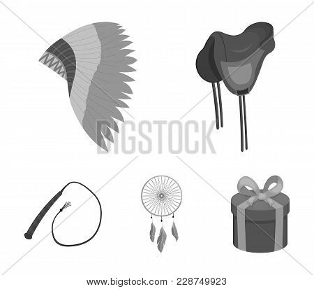 Saddle, Indian Mohawk, Whip, Dream Catcher.wild West Set Collection Icons In Monochrome Style Vector