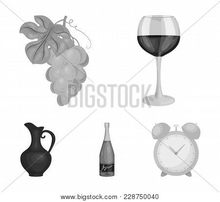 A Glass Of Red Wine, Champagne, A Jug Of Wine, A Bunch. Wine Production Set Collection Icons In Mono