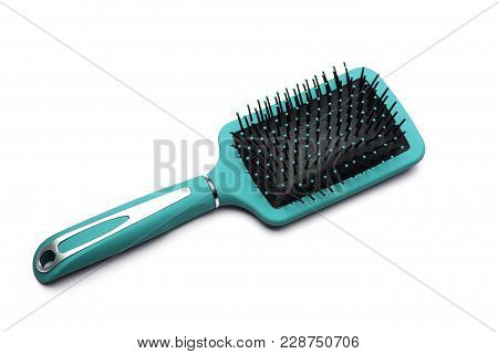 Top View Of Blue Plastic Hairbrush Isolated On White Background