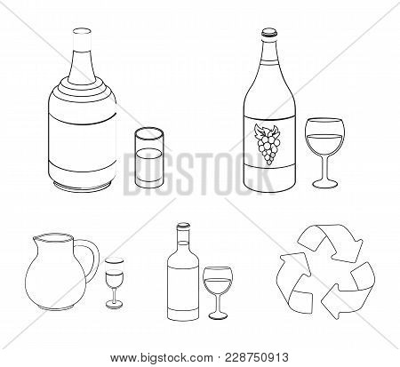 White Wine, Red Wine, Gin, Sangria.alcohol Set Collection Icons In Outline Style Vector Symbol Stock