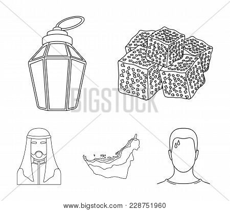 Eastern Sweets, Ramadan Lamp, Arab Sheikh, Territory.arab Emirates Set Collection Icons In Outline S
