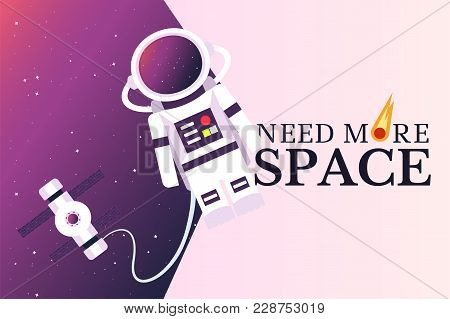 Astronaut And Space Station In The Background Of An Open Space. Double Exposure. Vector Illustration