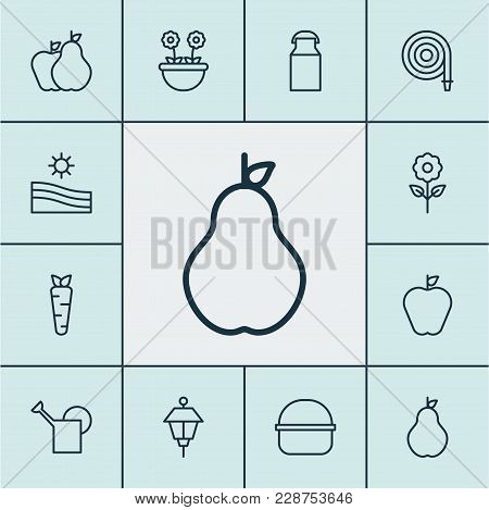 Farm Icons Set With Milk Can, Farm Field, Hose And Other Bloom Elements. Isolated Vector Illustratio