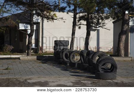 Secondhand Tyres Casing. There Are Tires Casing On The Ground.