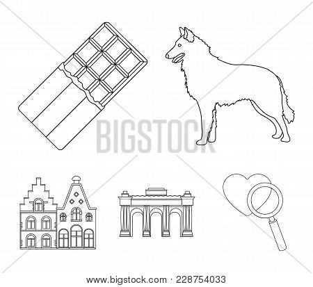 Chocolate, Cathedral And Other Symbols Of The Country.belgium Set Collection Icons In Outline Style