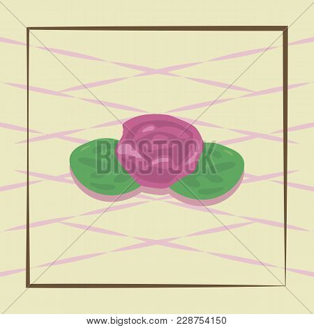 Sweet Fruity Sweet Pink Flower With Green Leaves On A Light Background Of Cakes Illustration.