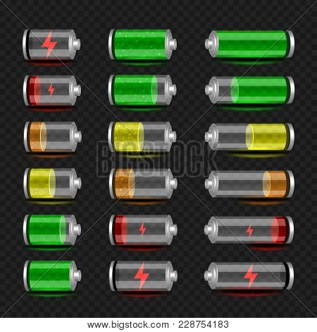 Battery Accumulator Charger Icon Set On Dark Transparent Background. Glossy Batteries Collection Wit