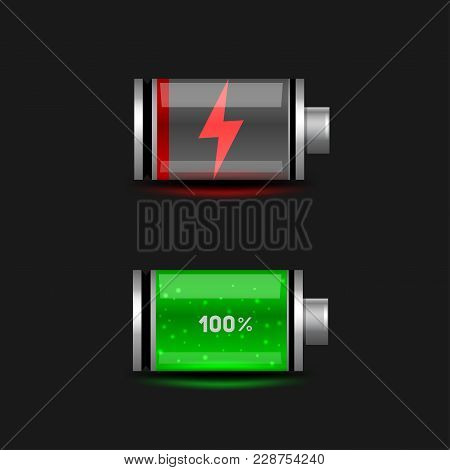 Simple Discharged And Charged Battery Icon Set On Black Dark Background. Glossy Batteries Collection