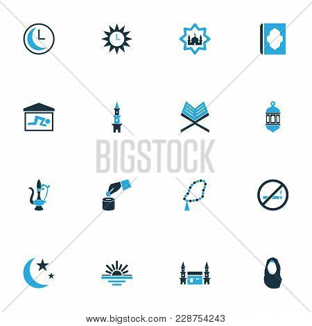 Religion Icons Colored Set With Sadaqah, Headscarf, Azan And Other Lantern Elements. Isolated Vector