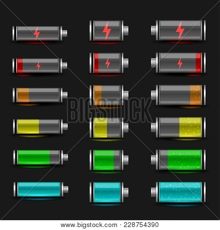 Simple Battery Charger Icon Set On Black Dark Background. Glossy Batteries Collection With Green Red