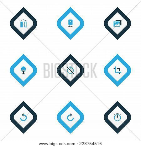 Photo Icons Colored Set With Timer, Gallery, Nature And Other Reload Elements. Isolated Vector Illus