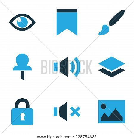 User Icons Colored Set With Layer, Eye, Sound And Other Vision Elements. Isolated Vector Illustratio