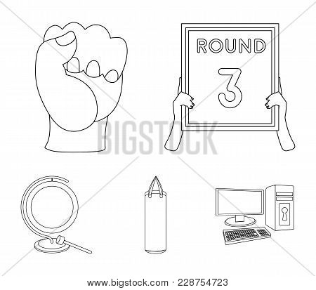 Boxing, Sport, Round, Hand .boxing Set Collection Icons In Outline Style Vector Symbol Stock Illustr