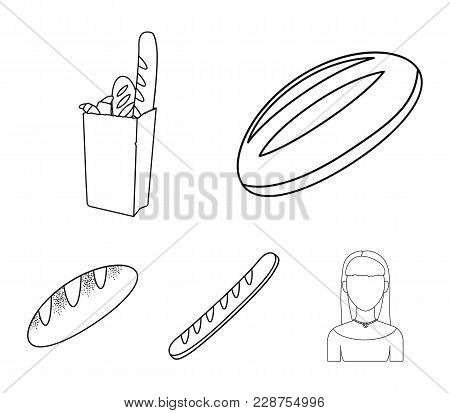Loaf, French Loaf, Bread In A Package, Wheat Bread.bread Set Collection Icons In Outline Style Vecto