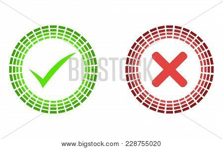 Thin Line Check Mark Icons. Green Tick And Red Cross Checkmarks Flat Line Icons Set. Vector Illustra