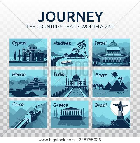 Flat Travel Illustration With Different Landmarks On Transparent Background. Journey. Countries That