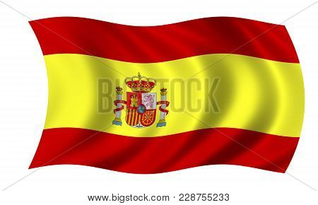 Waving Spanish Flag In The Colors Red And Yellow