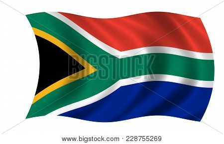 Waving South African Flag In The Colors Green, Blue, Black, White And Red