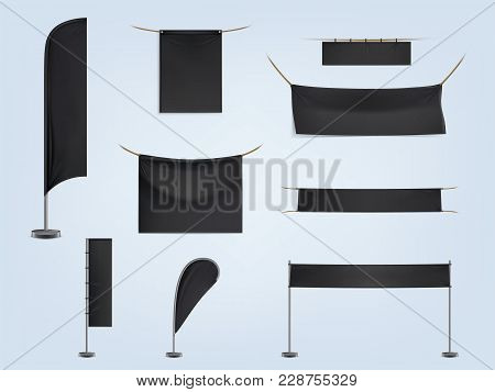 Vector Set Of Black Blank Textile Banners Or Flags, Horizontal And Vertical, Stretched And Hanging O